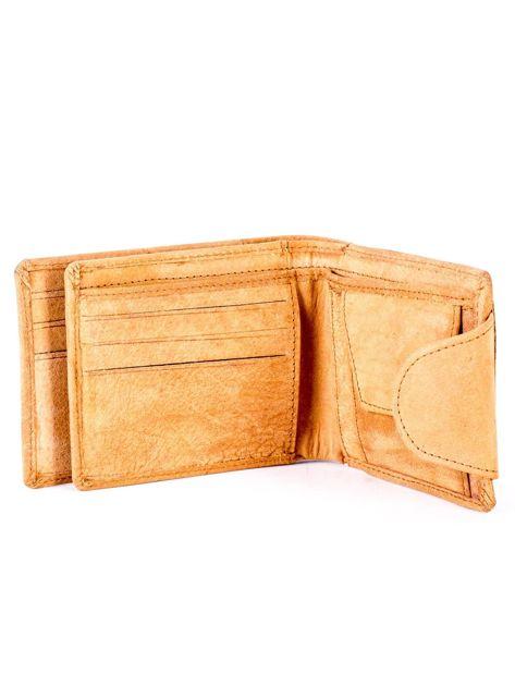 Jasnobrązowy portfel skórzany z tłoczonym krokodylem                              zdj.                              5