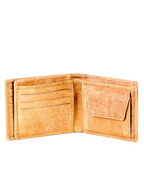 Jasnobrązowy portfel ze skóry z wycięciami                              zdj.                              5