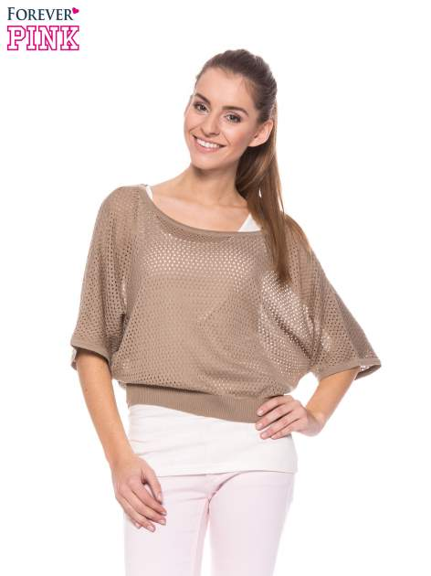 Jasnobrązowy siateczkowy sweter oversize