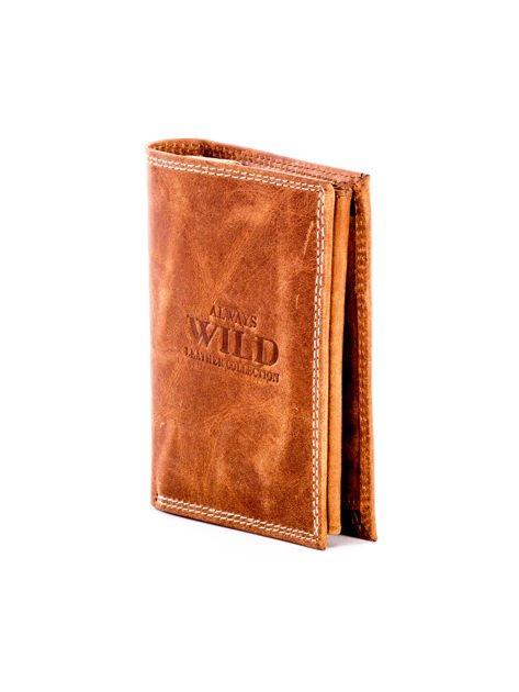 Jasnobrązowy skórzany portfel z cieniowaniem                              zdj.                              3