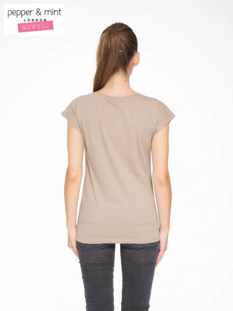 Jasnobrązowy t-shirt z motywem zwierzęcym                                  zdj.                                  4