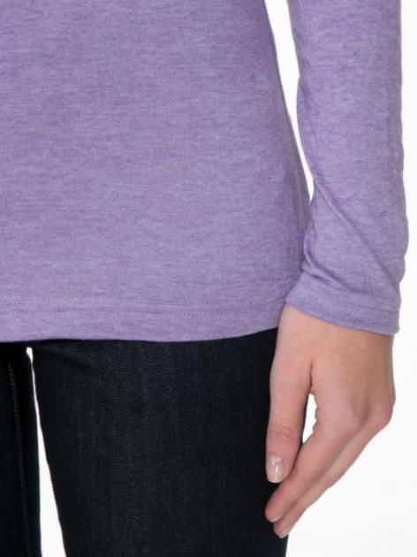 Jasnofioletowa gładka bluzka z reglanowymi rękawami                                  zdj.                                  6