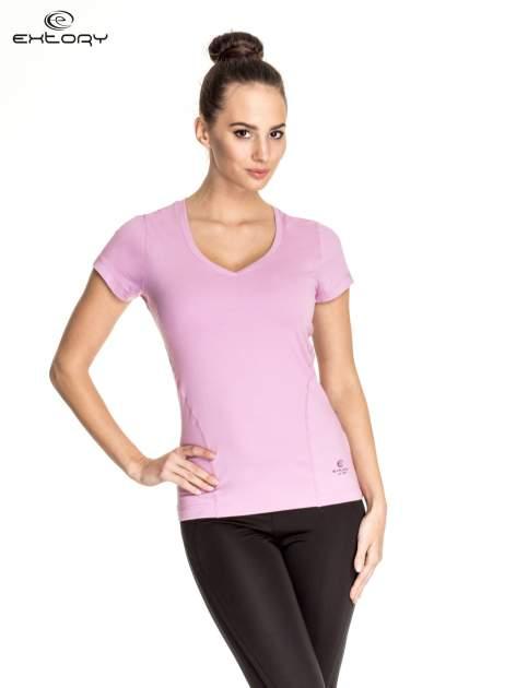 Jasnofioletowy damski t-shirt sportowy z dekoltem V PLUS SIZE