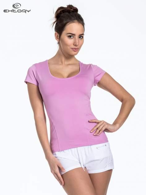 Jasnofioletowy t-shirt sportowy basic z dekoltem U