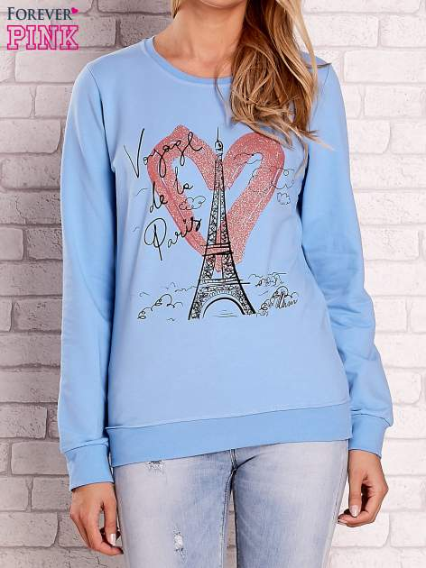 Jasnoniebieska bluza z motywem paryskim                                  zdj.                                  1