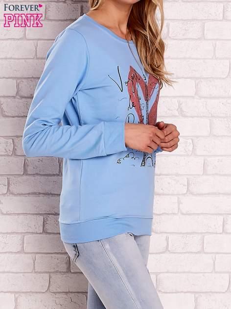 Jasnoniebieska bluza z motywem paryskim                                  zdj.                                  3