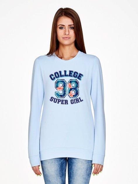 Jasnoniebieska bluza z napisem COLLEGE