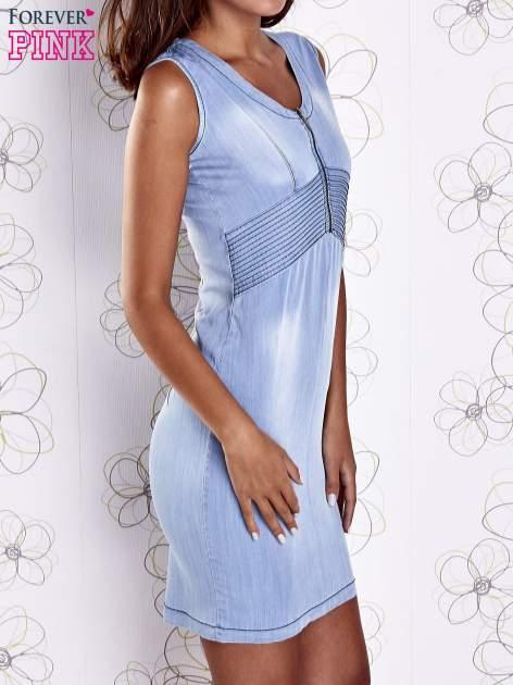 Jasnoniebieska denimowa sukienka z suwakiem                                  zdj.                                  3