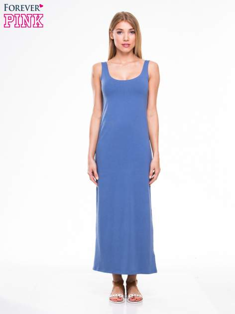 Jasnoniebieska długa sukienka maxi na ramiączkach                                  zdj.                                  1