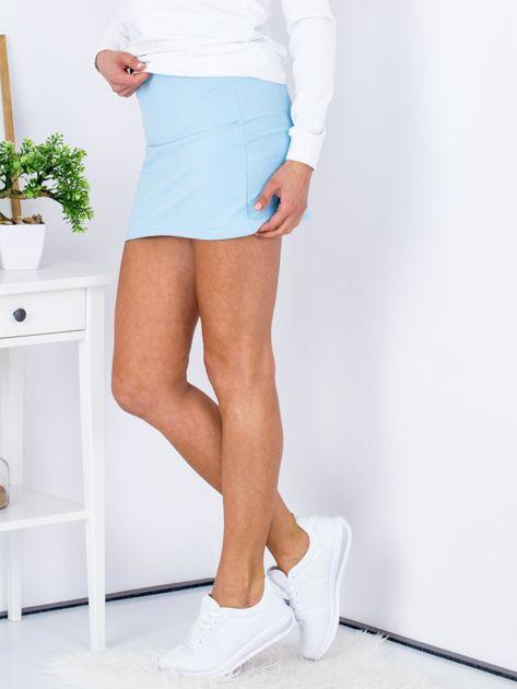 Jasnoniebieska dresowa spódnica mini                              zdj.                              4