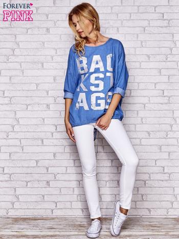 Jasnoniebieska jeansowa tunika ze sznureczkiem                                  zdj.                                  2