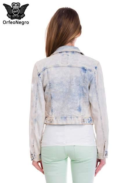 Jasnoniebieska marmurkowa kurtka jeansowa damska                                  zdj.                                  4