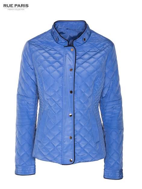 Jasnoniebieska pikowana kurtka ze skórzaną lamówką                                  zdj.                                  5