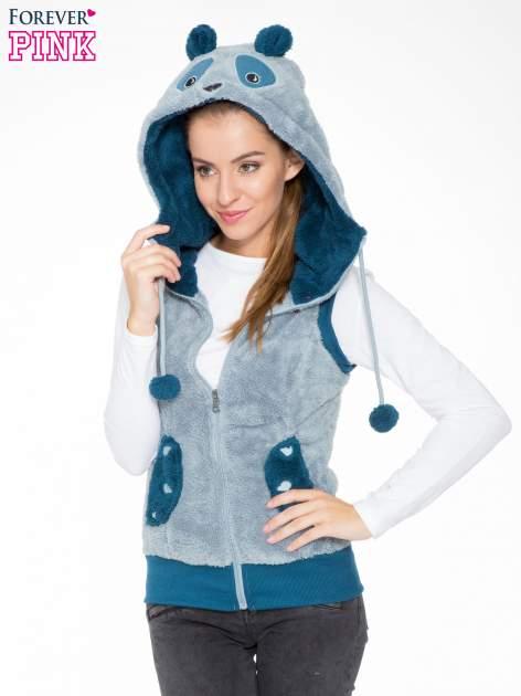 Jasnoniebieska pluszowa kamizelka panda z kapturem z uszkami i pomponami                                  zdj.                                  5