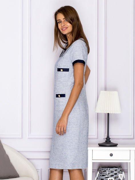 Jasnoniebieska sukienka z kieszeniami                                  zdj.                                  5
