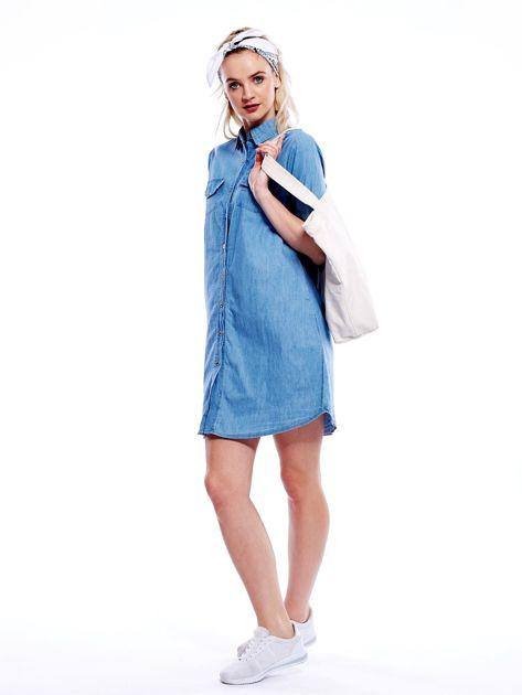 Jasnoniebieska sukienka z kołnierzykiem                              zdj.                              7