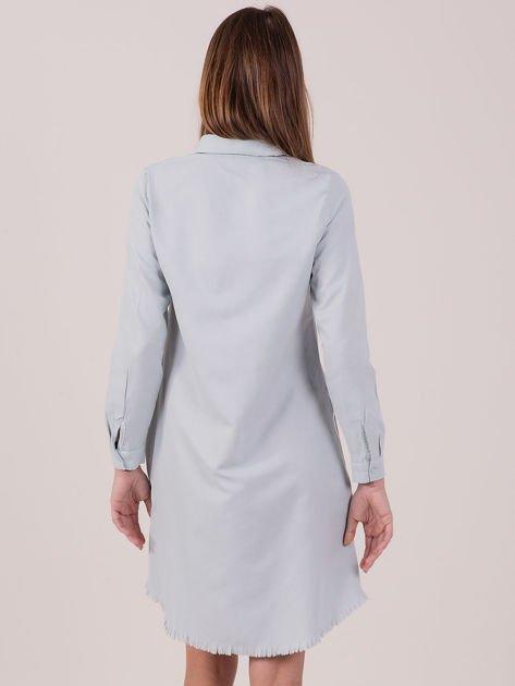 Jasnoniebieska sukienka zapinana na guziki                              zdj.                              3