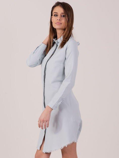 Jasnoniebieska sukienka zapinana na guziki                              zdj.                              2