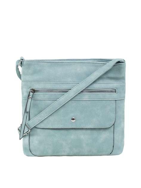 Jasnoniebieska torba na ramię z kieszeniami