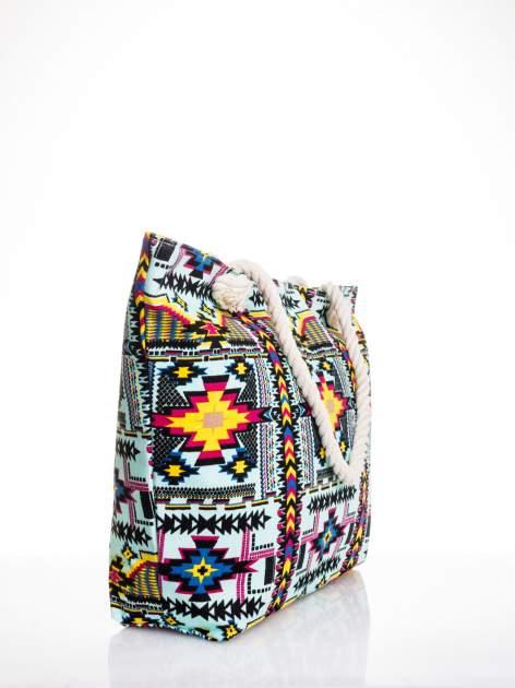 Jasnoniebieska torba plażowa w azteckie wzory                                  zdj.                                  3