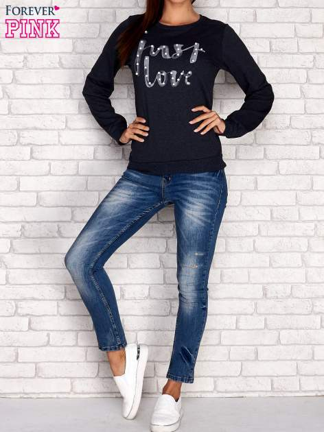 Jasnoniebieski bluza z napisem JUST LOVE i perełkami                                  zdj.                                  4