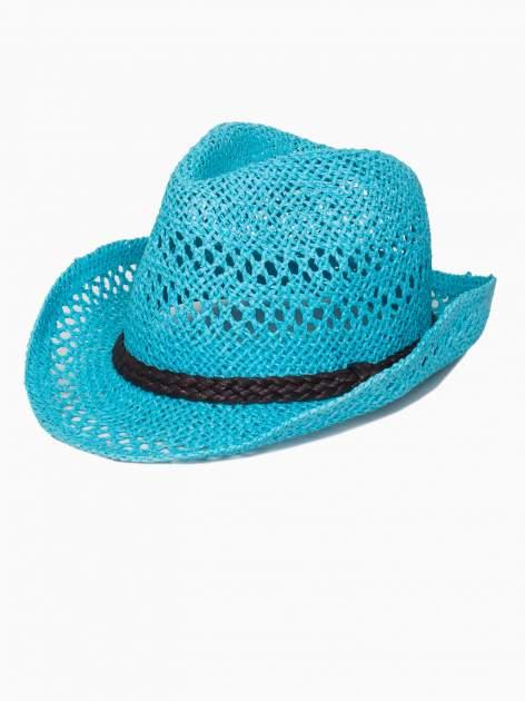 Jasnoniebieski damski kapelusz kowbojski z ciemną plecionką                                  zdj.                                  4