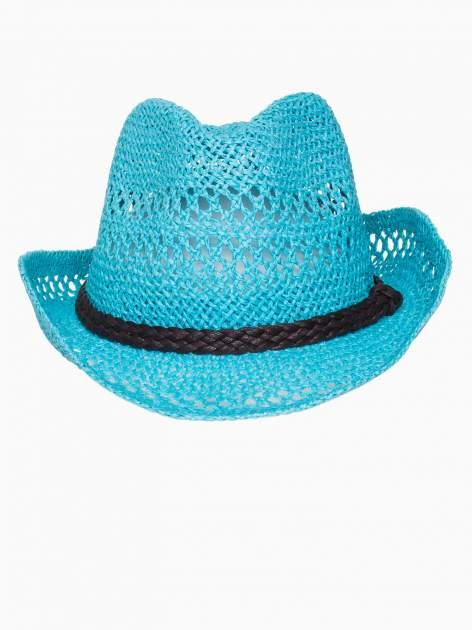 Jasnoniebieski damski kapelusz kowbojski z ciemną plecionką                                  zdj.                                  6