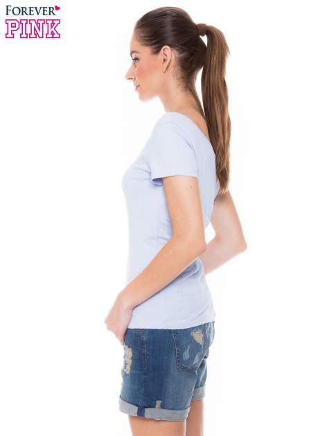 Jasnoniebieski gładki t-shirt z marszczeniem z tyłu                                  zdj.                                  2