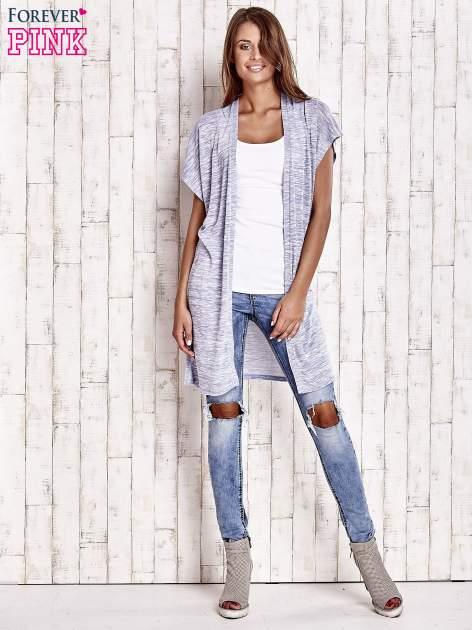 Jasnoniebieski melanżowy długi sweter                                  zdj.                                  2