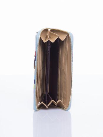Jasnoniebieski portfel w paski z kieszonką                                  zdj.                                  4