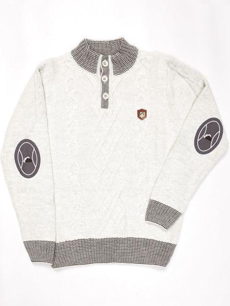 Jasnoniebieski sweter dla chłopca w warkocze                              zdj.                              1