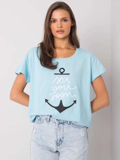 Jasnoniebieski t-shirt z nadrukiem Silva