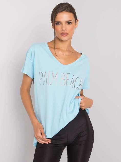 Jasnoniebieski t-shirt z napisem Denma