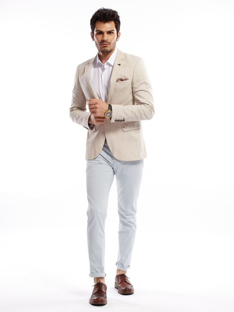 Jasnoniebieskie bawełniane spodnie męskie                               zdj.                              12