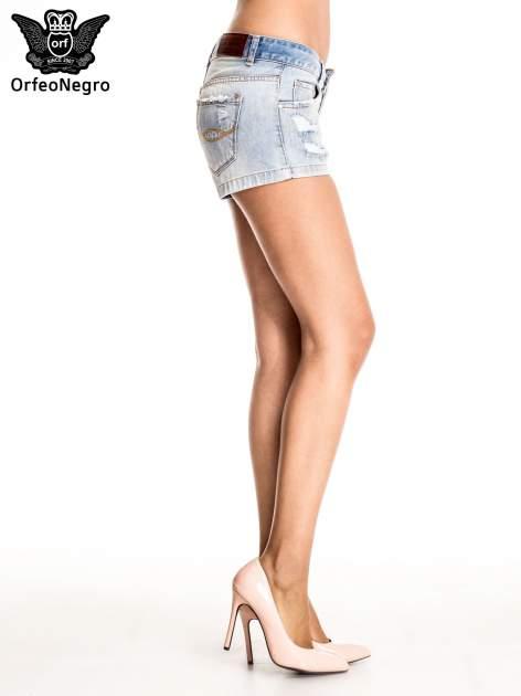 Jasnoniebieskie jeansowe szorty z wytarciami                                  zdj.                                  5