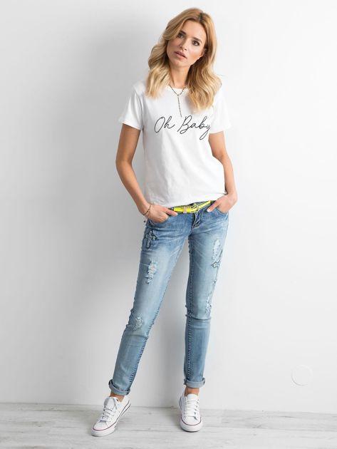 Jasnoniebieskie jeansy z aplikacjami                              zdj.                              4