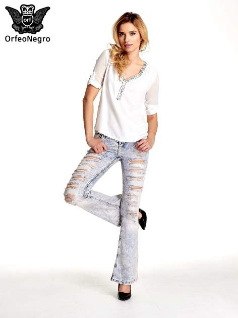 Jasnoniebieskie spodnie jeansowe dzowny cut out                                  zdj.                                  4