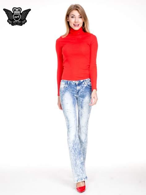 Jasnoniebieskie spodnie jeansowe dzwony typu marmurki                                  zdj.                                  4
