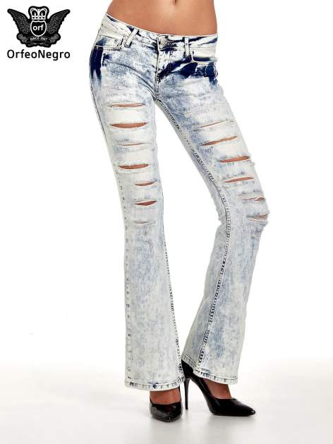 Jasnoniebieskie spodnie jeasnowe dzwony cut out                                  zdj.                                  1