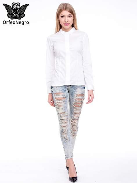 Jasnoniebieskie spodnie rurki typu trash jeans                                  zdj.                                  2