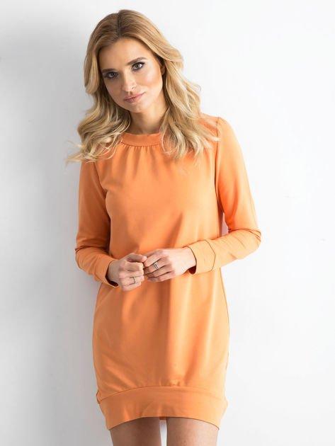 Jasnopomarańczowa dresowa tunika basic                              zdj.                              2