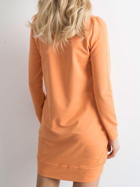 Jasnopomarańczowa dresowa tunika basic                              zdj.                              3