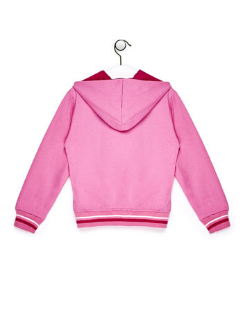 Jasnoróżowa bluza dla dziewczynki z naszywkami i napisem