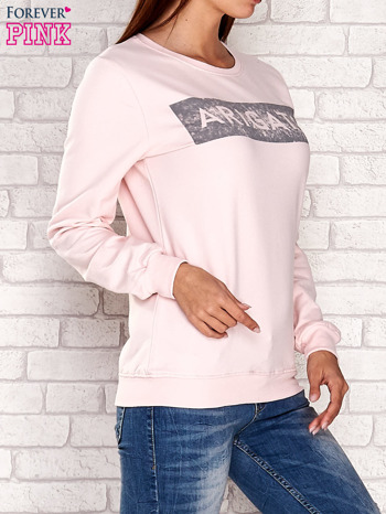 Jasnoróżowa bluza z napisem ARIGATO                                  zdj.                                  3