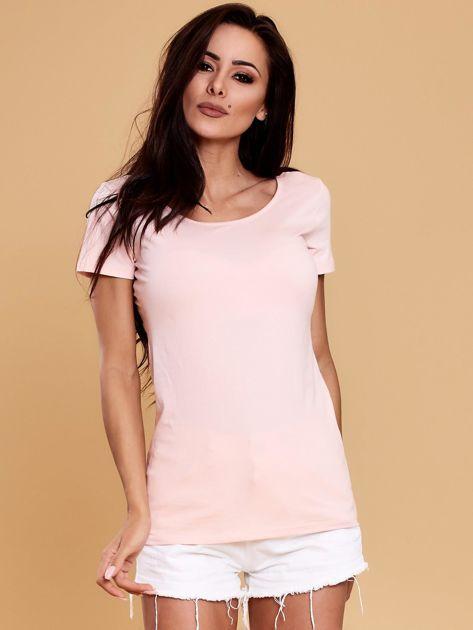 Jasnoróżowa bluzka damska z koronkową wstawką                               zdj.                              1