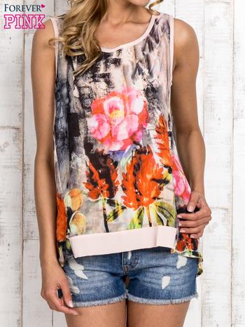 Jasnoróżowa bluzka koszulowa w malarskie desenie                                  zdj.                                  1