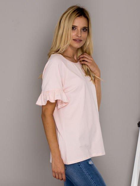 Jasnoróżowa bluzka z falbanami na rękawach                                  zdj.                                  3