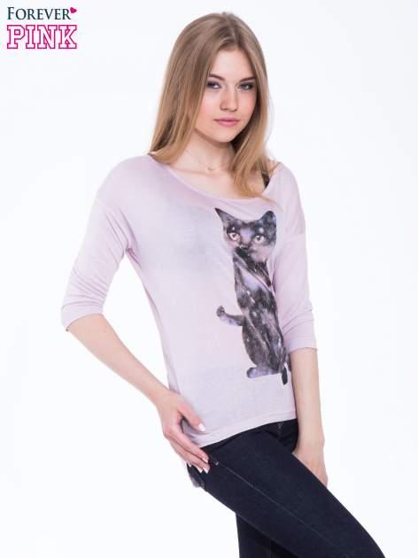 Jasnoróżowa bluzka z nadrukiem kota z efektem galaxy                                  zdj.                                  2