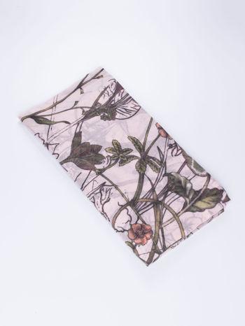 Jasnoróżowa chusta damska w roślinny ornament                                  zdj.                                  2
