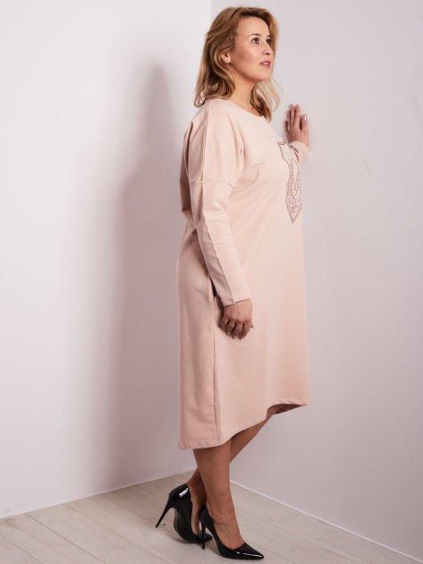 5ccb83266d Czerwona dresowa sukienka z kieszeniami PLUS SIZE - Sukienka plus size -  sklep eButik.pl